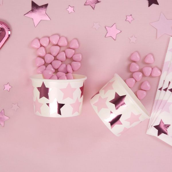Little Stars Pink Paper Treat Tubs (8)